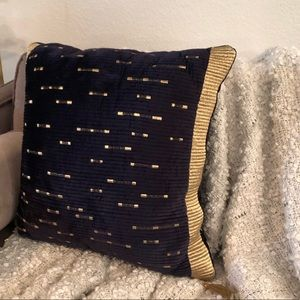 18x18 Navy Pillow with gold threading